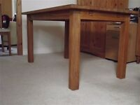 Rustic solid oak Dining table and 4 Solid oak chairs with Beige fabric seats