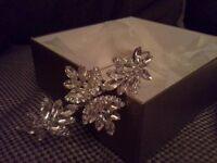 Richard design crystal side tiara c/w original box, perfect condition
