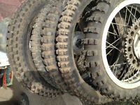 Assorted dirt bike tires - new and used knobby and trial tires