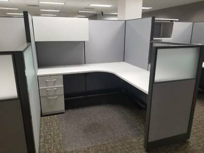 Nice Hon 6x6 Office Cubicles Workstations - Frosted Glass