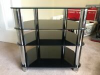 Black and Silver TV Stand - 4 SHELVES