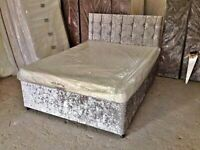 🌈🌈STRONG & STURDY🌈🌈DOUBLE CRUSHED VELVET DIVAN BED BASE WITH DEEP QUILTED MATTRESS