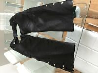 Men's motorcycle leather chaps, size Large