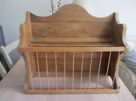 OLD pine plate rack