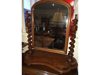 Gorgeous Original Antique Mahogany Barley Twist Victorian Table Top Swivel Vanity Dresser Mirror
