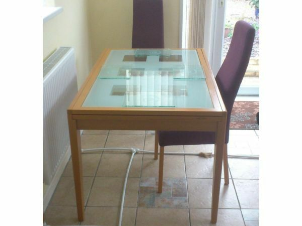 Effezeta Beech Gl Kitchen Dining Table With 6 Chairs