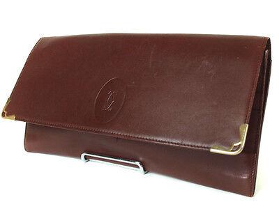 CARTIER Cartier Must De Bordeaux Leather Evening Clutch Bag CC6610L
