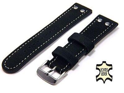 Uhrenarmband 22 mm ECHT WASSERBÜFFEL Schwarz FLIEGER Herren Uhrband