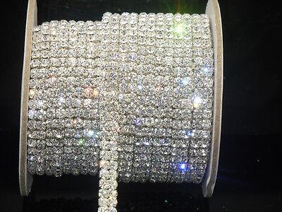 Crystal Rhinestones Apparel - 2-row Sparkle Crystal Rhinestones Chain Close Sew On dress custom applique 1y
