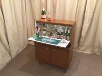 Teak Cocktail Bar - Retro Drinks Cabinet / Bureau