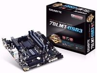 Gigabyte 78LMT-USB3 Rev 6.0 Mobo. Boxed with I/O shield, 2 SATA cables and DVD. £35.