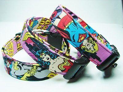 Charming Supergirl, Wonder Woman or Batgirl Superhero Dog Collar - Superhero Dog Collars