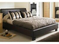 Popular Bed Frame-Faux Leather Bed Frame in Black, Brown and White Color With Mattress Choices