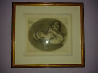 Antique Original 1786 charcoal print