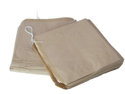 """100 BROWN PAPER BAGS - SIZE 10 x 10"""" / 250x250mm"""