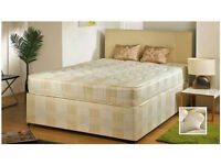 "==BRAND NEW DOUBLE DIVAN BED BASE AND 9"" DEEP QUILT MATTRESS==FREE DROP== SINGLE/KINGSIZE AVAILABLE"