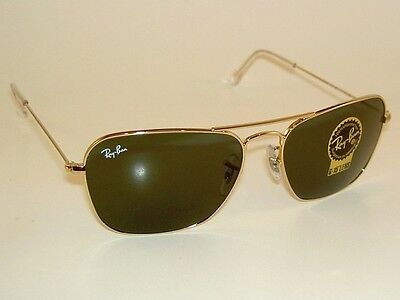 153dad59c4 ... spain new ray ban sunglasses gold frame caravan rb 3136 001 g 15 glass lenses  58mm