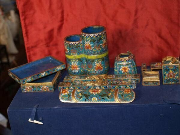 Antique Chinese Complete Scholars Set in Cloisonne