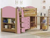 Cabin bed with desk, chest of drawers and bookcase