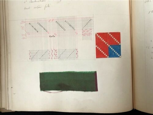 1898-99 BOOK OF SILK WEAVING LYON FRANCE INCREDIBLE ALL HAND-DONE, W/SWATCHES