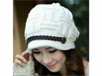 Womens Hat White Crochet Knitted Cotton Outwear Snow Winter Baggy Slouchy Hat