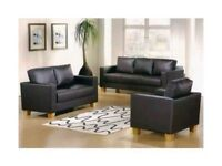 =SUPERB BLACK AND BROWN FINISH= brand new box sofa - 3 and 2 seater faux leather sofa set