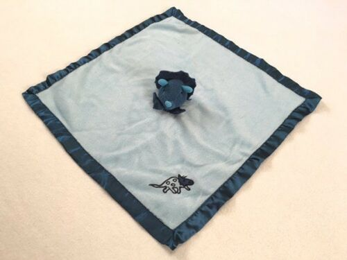 Blankets And Beyond Blue Triceratops Dinosaur Baby Security Blanket Satin Trim