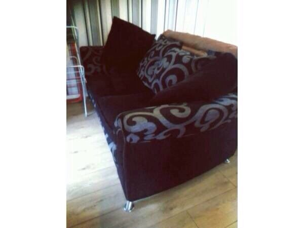 3 seater sofa / settee black and grey