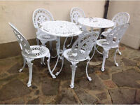 Cast aluminium garden tables x 2 and 6 chairs all matching white