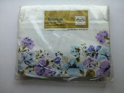 Vintage Stevens Cotton Double Bed Sheet Blue & Purple Floral MIP