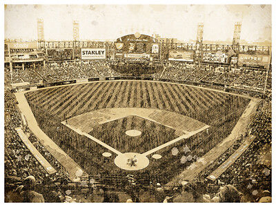 Chicago White Sox Poster Print Sketch Wall Art Man Cave Decor 12x16