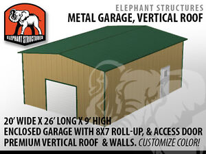 Metal garage building kit 20 x 26 x 9 for 5 595 for 20 x 26 garage