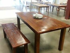 Brand New Reclaimed ELM Wood Burgandy Handmade Dining Table!