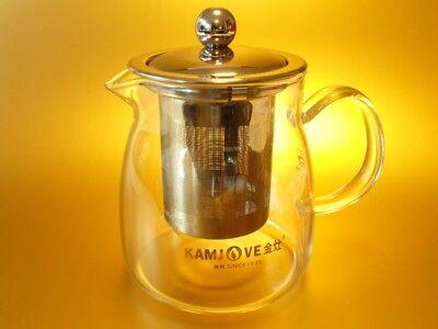 Kamjove Glas Teekanne Kaffekanne 600 ml + Metallsieb Teesieb Teeeinsatz Teapot  ()