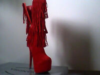 STUNNING - NEW RED SUEDETTE FRINGED HIGH BOOTS, BRAND NEW IN BOX, SIZE 5