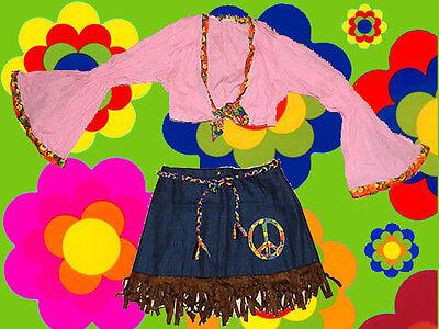 105✪ Trompetenärmel Tunika und Minirock Peace Hippie Kostüm Woodstock - Woodstock Festival Kostüm