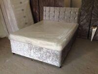 crush velvet divan base with choice of mattress and headboard