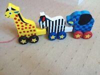 Melissa and Doug zoo animals pull-along (Elephant, Giraffe, Zebra)