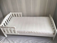 Mothercare Pine toddler bed white and premium coolmax fresh fx mattress 140/70cm