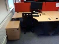 OFFICE DESK 1600MM X 1200MM ,CHAIR AND PEDESTAL
