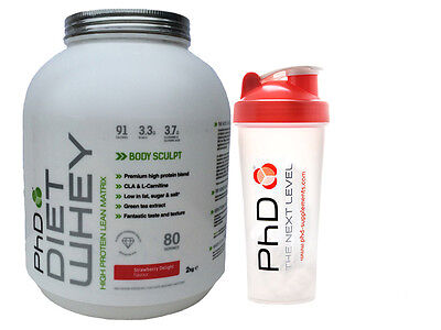PhD Diet Whey 2kg - Strawberry + PHD Shaker Cup