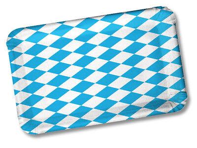 100 Pappteller eckig 24x17cm BAYRISCH RAUTE OKTOBERFEST WURSTTELLER KUCHENTELLER