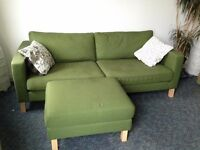 Ikea Green Karlstad 2 Seat Sofa and footstool