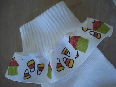 Halloween Cupcake Candy Corn Grosgrain Ruffle Ribbon Socks Girls Sox Gift BCMM