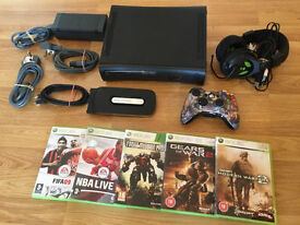 120gb ELITE XBOX 360 CONSOLE with 5 GAMES & GAMING HEADSET £40 no offers