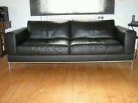 Ikea modern leather sofa 2 and 3 seater brown