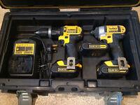 Dewalt 14.4v set, 3 batteries.