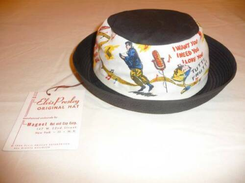 Elvis Presley Vintage 1956 EPE Bucket Hat w/Tag Attached. MINT/WHITE