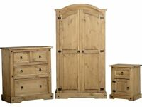 New Solid Corona Mexican Pine 2 door wardrobe Only £149 get yours today