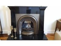 Tradition Cast Iron fire, marble fireplace, marble hearth
